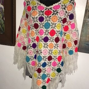 Anthropologie hand knitted colorful poncho